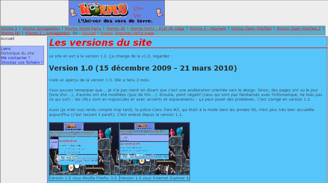 Aperçu version 1.2 - Internet Explorer 6