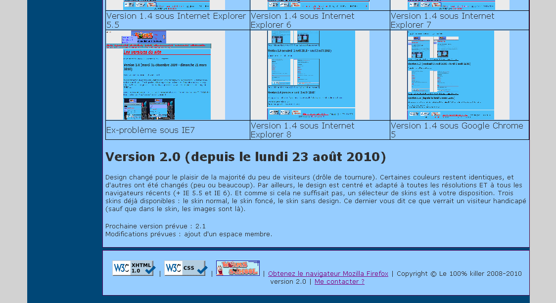 Aperçu version 2.0 - Internet Explorer 5.5