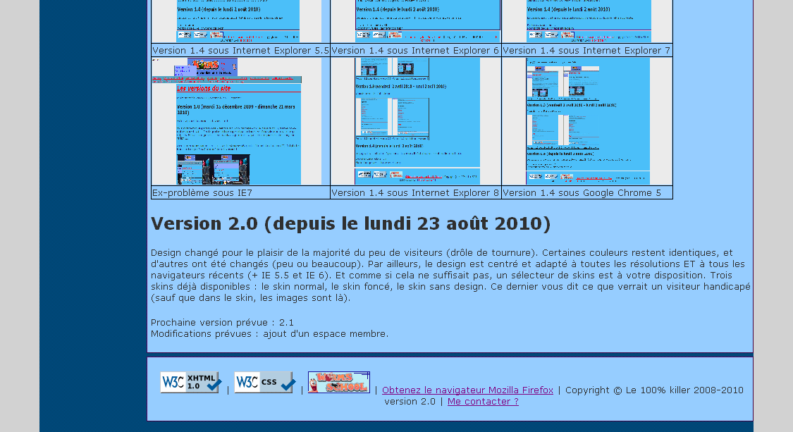 Aperçu version 2.0 - Internet Explorer 6