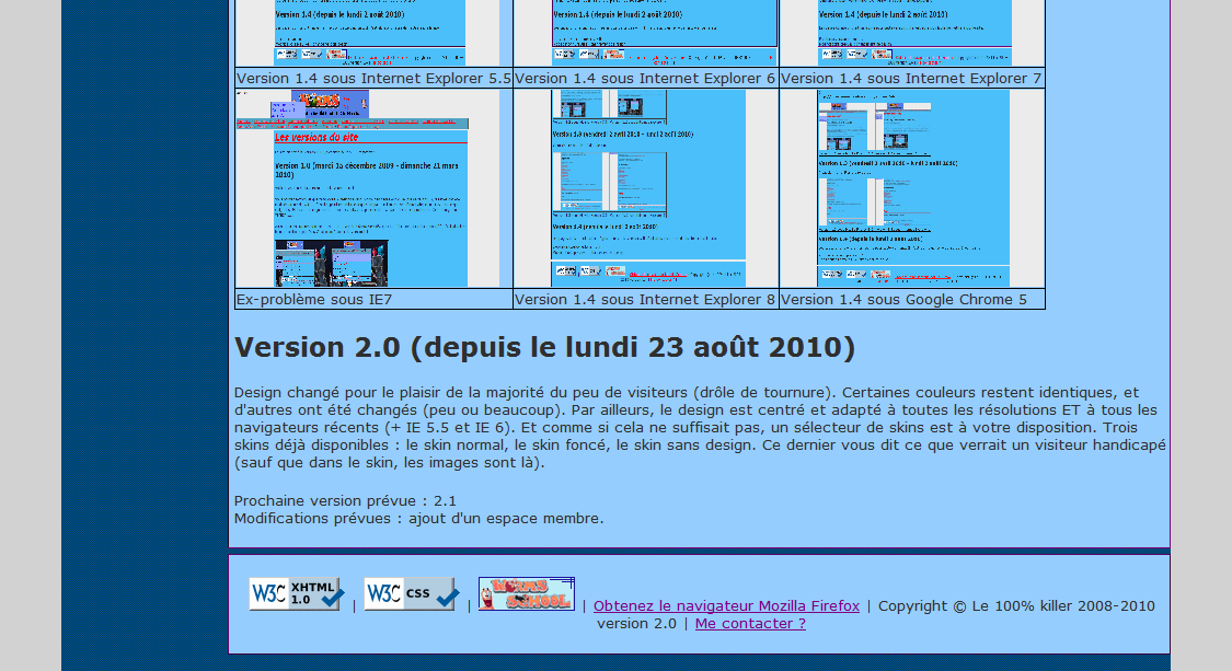 Aperçu version 2.0 - Internet Explorer 7