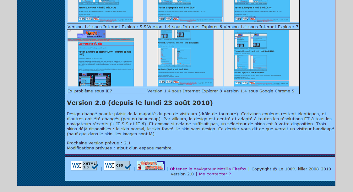 Aperçu version 2.0 - Internet Explorer 8